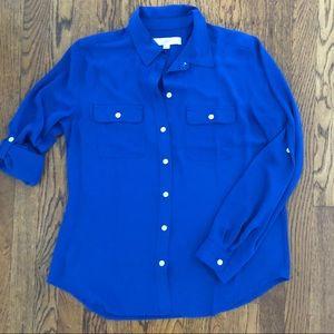Ann Taylor Loft blue utility blouse - like new
